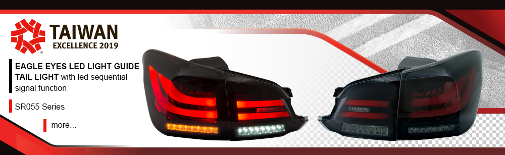 LED light guide tail light with LED sequential signal function